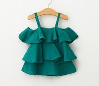 Wholesale 2016 fashion high Grade Girls summer tank tops new Baby Kids Clothes girls Off shoulder princess T shirts Mini dresses children short dress