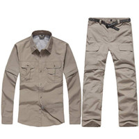 Wholesale 2016 Fashion Outdoor UV Resistant Fast Drying Speed removeable Men Quick Dry Shirt Pants Active Pants sports suit