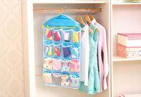 folding clothes rack - Thick Multifunction Clear Socks Cosmetic Underwear Sorting Storage Bag Door Wall Hanging Closet Organizer bag cajas organizadora