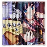 bath guitar - Anime Girl Guitar Hair Design Shower Curtain Size x cm Custom Waterproof Polyester Fabric Bath Shower Curtains