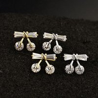 Wholesale Korean cute Ellen cocoa set zircon Bow Earrings small fresh Earrings mmx11mm