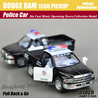 alloy dodge - 1 Scale Alloy Diecast US Police Car Model For DODGE RAM PICKUP Collection Pull Back Metal Car Toys Black