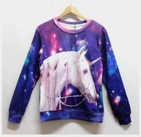 animated unicorns - 2016 Loose Big Galaxy Casual Animate Unicorn Printed Harajuku Sweatshirt Unicorn Hoodies Street Sports Costumes D Sweatshirt D Pullover