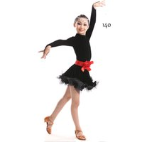Wholesale Webetop Women sWebetop Children s Long Sleeve Latin Cha Cha Tango Ballroom Dance Dress Black