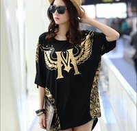 Wholesale Free sizes Summer Style New Arrival T shirts Large Sizes Maternity Clothing Half Sleeve Letters Printing Long Loose Crop Top