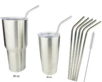 Wholesale 304 Stainless Steel Straw Metal Drinking Straw Beer Juice Straws Cleaning Brush Set Retail Packing Kit Fits Tumbler Rambler Cups
