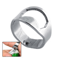 Wholesale 10 New Useful Stainless Steel Finger Ring Bottle Opener Beer Tool Practical Party Bottle Open Silver