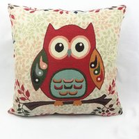 Wholesale DHL OR FEDEX cm Owl Cushion Cover No Insert Linen Cotton Throw Pillowcase Home Sofa Car Seat Decor Cushion Cover