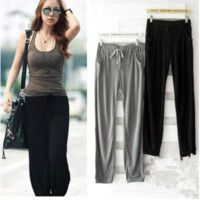 Wholesale New Fashion Autumn Big Yards Trousers Loose Show Thin Harlan High Pants Women Yoga Pants Casual Pants Casual Style Gray Sports Pants