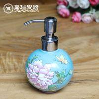 ball soap dispenser - 320ml Ball shape hand painted Ceramic liquid soap dispenser Bathroom Soap dispensers