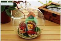 Wholesale Windmill House Glass ball wood model houses assembling dollhouse diy assembling toy kit diy handmade hut kit