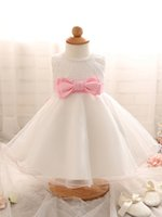 Wholesale Wholesales little girls Christening dresses princess ball gown dress sleeveless O neck with bowknot big bow skirt colors lace skirt