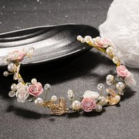 Wholesale 2016 Wedding Jewelry Bride Alloy Leaf Ceramics Flower Crown Earrings Hair Accessories Women Party Festival Rose Crystal Hairband Hair Wreath