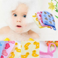 baby bath glove - Cartoon Cotton Newborn Soft Bath Brushes Baby Shower Kids Bath Sponge Care Accessories For Children Massage