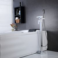 Wholesale PHASAT Classic Chrome Floor Standing Bathtub Faucet With Hand Shower Chrome Brass Fixed Support Type