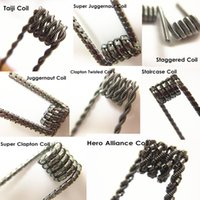 Wholesale 20 Taiji Clapton Twist Juggernaut Coils Premade Wrap Wires Hero Alliance Staircase Staggered types Heating Resistance Rda Coils