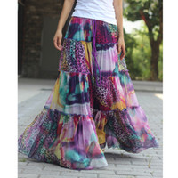Plus grande taille jupe longue / haute qualité en mousseline de soie florale bohème BOHO Full Circle Espagne élégant plissé Maxi jupes Casual