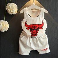baby bull - 2 Set Summer Spring Children Short Pants Set Bull Print Children Baby Boys Girls Set Clothes Sleeveless Top Short Pants5 Sets A