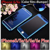 aluminum front bumper - HOT SALE For iPhone S s Plus Metal Hard Aluminum Cover Bumper Frame Front Back Colorful Mirror film