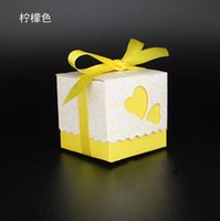 april charmed - Charming Yellow Wedding Favor Boxes New Arrival Ribbon Bows Pieces Stock Candy Party Boxes Favor Box Wedding Supplies Favor Holders