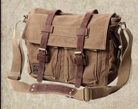 Wholesale akarmy European retro canvas shoulder bag men s bag man messenger bag with leather man casual bag