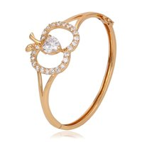 apple bangle - Rose Gold Color Jewelry Bangle For Women Fine Zirconia Apple Shape Copper Bangle New Design Present Jewelry From Xuping Brand