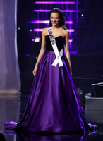 Wholesale THE MISS TEEN USA Pageant Celebrity Dresses Dark Purple Satin Sweetheart Neck Formal Evening Occasion Dresses Cheap For Party Wear