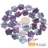 Wholesale Fluorite mm Flower Shape Fluorite Beads Natural Fluorite Stone Beads DIY Loose Beads For Jewelry Making Strand quot