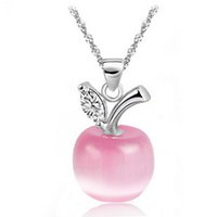 apples halloween - 2016 New Hot cat eye apple pendant necklace white pink female pure silver jewelry design fashion necklaces pendants pendants necklace
