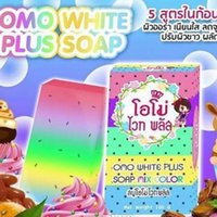 Wholesale DHL FREESHIPPING Brand New Arrivals OMO White Plus Soap Mix Color Plus Five Bleached White Skin Gluta Rainbow Soap
