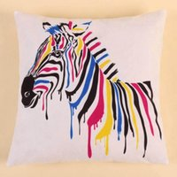 Wholesale 45 cm Pillowcases Colorful Zebra One side Printed Cover Pillows Cases Decorative Throw Pillow Covers