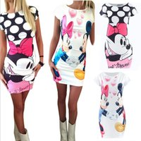 Wholesale 2016 NEW Sexy Women Dress Minnie Mouse Print Cute Fashion short Sleeve Summer Dress