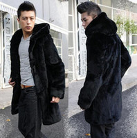 Wholesale Fall Black warm Hooded Faux Mink fur coat mens leather jacket men coats Villus autumn winter thermal Single breasted outerwea XLr