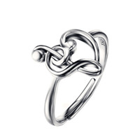 bass clef - 100 Pure Sterling Silver Jewelry Treble Clef Bass Heart Ring Musical Note Jewelry Elegance Ring For Women