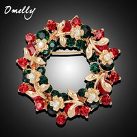 Wholesale Hot Sale Pretty Christmas Garland Rhinestone Floral Round Brooch Pins For Women Girls Christmas Gift Fashion Jewelry