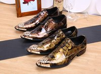 Cheap Personalized luxury gold fashion lace the commercial leisure man leather shoes wedding metal charm pointed toe shoes