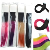 Wholesale Glue Ombre Clip in Real Human Hair Extension Straight Hair Pieces Hairpiece For Female Natural Hair Color CM INCH High Quality