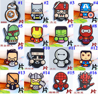 Wholesale The Avengers Series PVC Toy Cartoon DIY Patch Toy Cartoon Decorations Paster Accessories The Hulk BatMan Captain America Baymax Q Doll