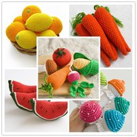 Wholesale 2016 Baby colorful knitted wool fruit toys styles Kids funny toys Children birthday gift amusement Toys photography prop SDB988