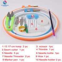 best scissors sewing - 2016 best selling round embroidery hoops as DIY patchwork tools set with mini scissors seam cutter needle threader as sewing accessori
