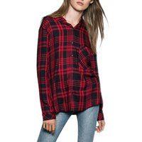 basic flannel - Women classic Plaid Flannel shirt red loose pocket blouses basic office wear long sleeve Blusas Femininas casual tops LT607