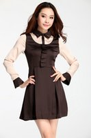 Wholesale Plus Sizes Women Clothing Fall Spring Seasons New Long Sleeve Satin Slim Empire Min Dresses for work Lapel neck Pleated Contract Gown