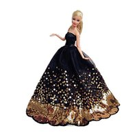 Wholesale China post air mail High quality Doll Classic Black Evening Dress with Golden Beading