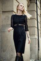 Wholesale New Elegant Beauty Autumn Lace Dress Half Sleeves Formal Evening Dress Or Work Dresses Black White