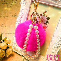 Wholesale Fashion Cute Rabbit Fur Ball Keychains With Pearl Chain Metal Key Rings Accessories Women Keyrings Bag Charm Pendant cm
