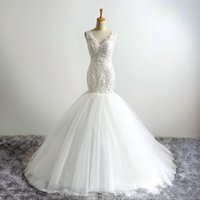 Wholesale 2016 New Luxury White Lace Embroidery V neck Fishtail Wedding Dresses The Bride Princess Sexy Sleeveless Mermaid Long Wedding Gown