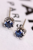 allergy needles - Korea custom sterling silver needle allergy delicate blue zircon earrings female Fashion hollow out a Crown in gold