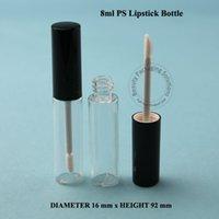 Wholesale 100pcs ml PS Lipstick Tube Empty Plastic Lip Gloss Women Cosmetic Container Tube Brush Black Cap Lip Balm Tube