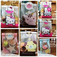 baking plastic wrap - 70pcs Mix Color Plastic Candy Bags with Stickers Cute Cartoon Biscuit Cookie Bag Baking Packs Sack Gift Bag Bolsas de Regalo