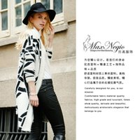 Wholesale MaxNegio Fall New Women s Clothing Warm And Fashion White And Black Cardigan Sweater Dress Up Very Light